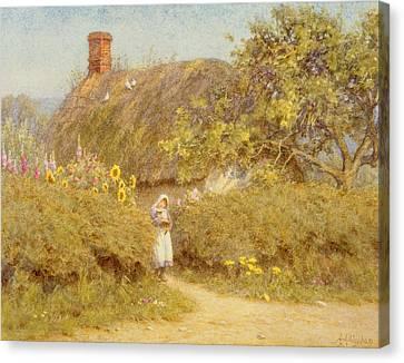 A Surrey Cottage Canvas Print by Helen Allingham
