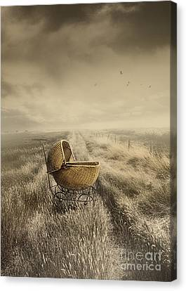 Abandoned Antique Baby Carriage In Field Canvas Print