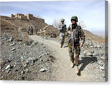Afghan National Army And U.s. Soldiers Canvas Print