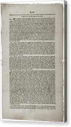 Alien And Sedition Acts Of 1798 Canvas Print by Everett