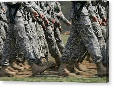 Army Rangers Marching In Formation Canvas Print by Skip Brown