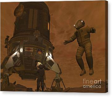 Artists Concept Of Astronauts Exploring Canvas Print by Walter Myers