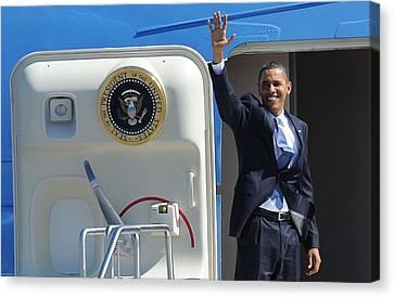 Barack Obama At A Public Appearance Canvas Print