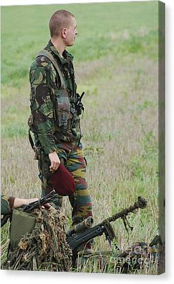 Belgian Paratroopers Red Berets Canvas Print by Luc De Jaeger