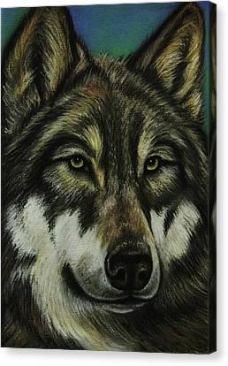 Native American Spirit Portrait Canvas Print - Blue Wolf by Lucy Deane