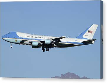 Boeing Vc-25a 82-8000 Air Force One Phoenix-mesa Gateway Airport January 25 2012 Canvas Print by Brian Lockett