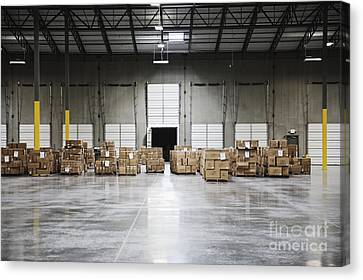 Boxes On Pallets In A Warehouse Canvas Print by Jetta Productions, Inc
