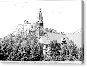 Burg Gutenberg And Church Balzers Liechtenstein  Canvas Print by Joseph Hendrix