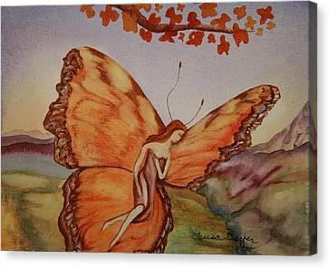 Canvas Print featuring the painting Butterfly by Teresa Beyer