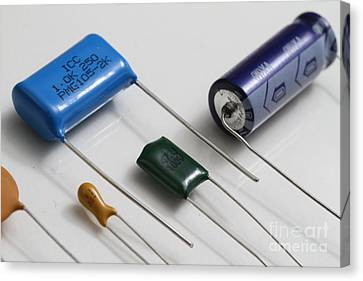 Polyester-film Canvas Print - Capacitors by Photo Researchers, Inc.