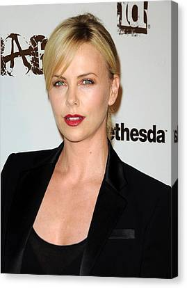 Charlize Theron At Arrivals Canvas Print
