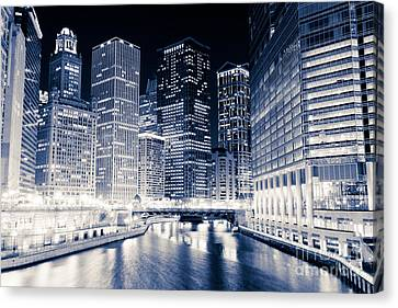 Chicago River Canvas Print - Chicago River Buildings At Night by Paul Velgos