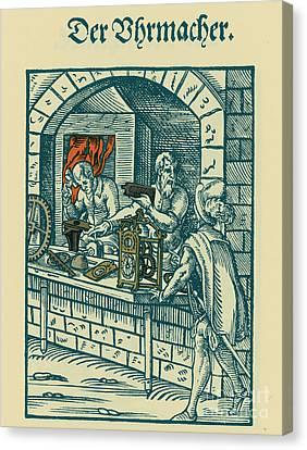 Clockmaker, Medieval Tradesman Canvas Print