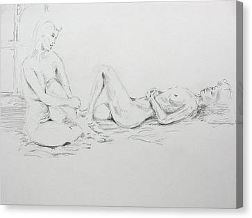 Canvas Print featuring the drawing 2 Close Friends by Brian Sereda