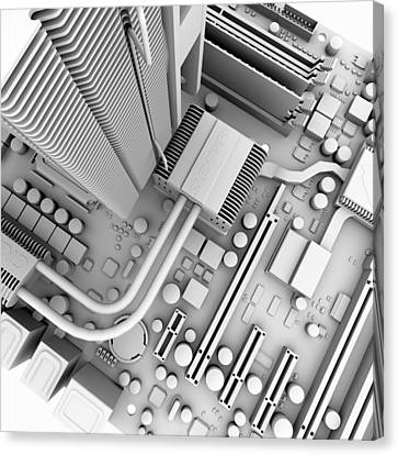Computer Motherboard, Artwork Canvas Print by Pasieka