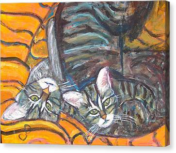 Dos Gatos Canvas Print by Carolyn Donnell