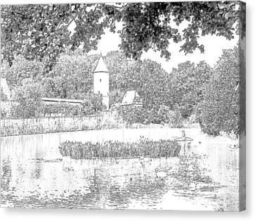 Duck Pond Dinkelsbuhl Germany Canvas Print by Joseph Hendrix