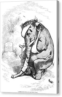 Crutch Canvas Print - Election Cartoon, 1877 by Granger