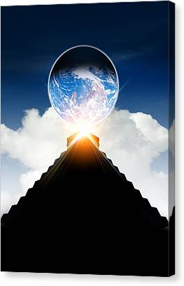 Mayan Mythology Canvas Print - End Of The World In 2012 Conceptual Image by Victor Habbick Visions