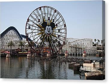 Ferris Wheel And Roller Coaster - Paradise Pier - Disney California Adventure - Anaheim California - Canvas Print