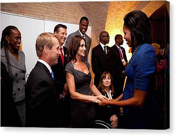 First Lady Michelle Obama Greets Canvas Print