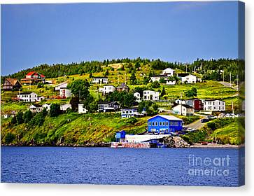 Port Town Canvas Print - Fishing Village In Newfoundland by Elena Elisseeva