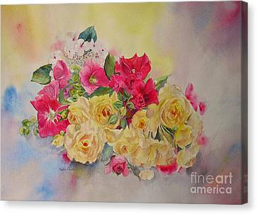 Canvas Print featuring the painting Garden's Delight by Beatrice Cloake