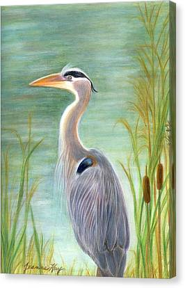 Great Blue Heron Watches By Pond Canvas Print by Jeanne Kay Juhos