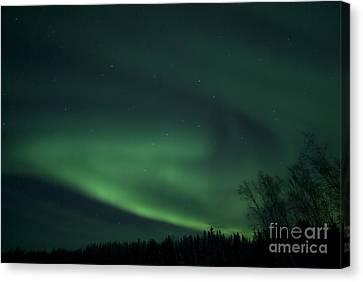 Green Aurora Above Far Lake Canvas Print
