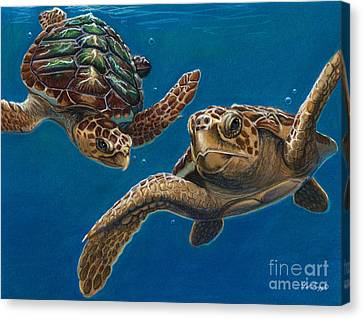 Hattie And A Friend Canvas Print by Deb LaFogg-Docherty