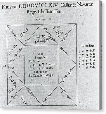 Horoscope Chart For Louis Xiv, 1661 Canvas Print by Science Source