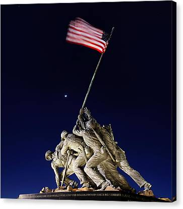 Canvas Print featuring the photograph Iwo Jima Memorial At Dusk by Metro DC Photography