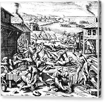Jamestown: Massacre, 1622 Canvas Print by Granger