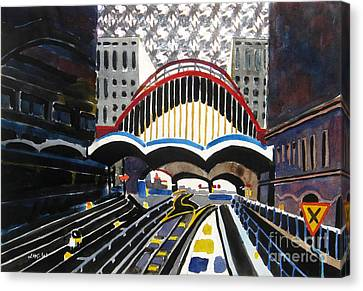 London Canary Wharf Station Canvas Print by Lesley Giles