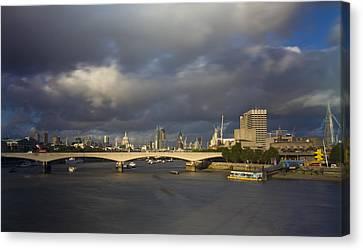 London  Skyline Waterloo  Bridge  Canvas Print by David French
