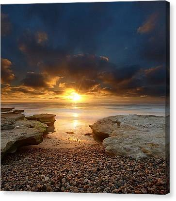 Long Exposure Sunset In North San Diego Canvas Print by Larry Marshall