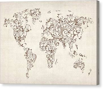 Map Of The World Map Floral Swirls Canvas Print by Michael Tompsett