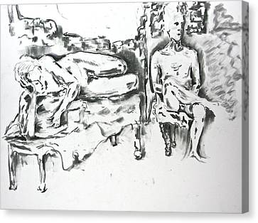 Canvas Print featuring the drawing 2 Men And Broken Wall by Brian Sereda
