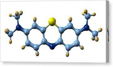Psychiatric Canvas Print - Methylene Blue, Molecular Model by Dr Mark J. Winter
