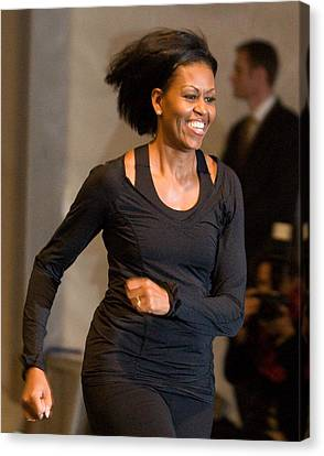 Michelle Obama At A Public Appearance Canvas Print by Everett