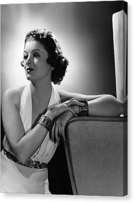 Myrna Loy, Mgm Portrait By Clarence Canvas Print