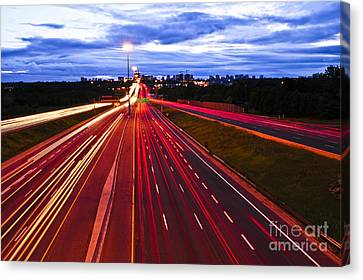 Night Traffic Canvas Print by Elena Elisseeva
