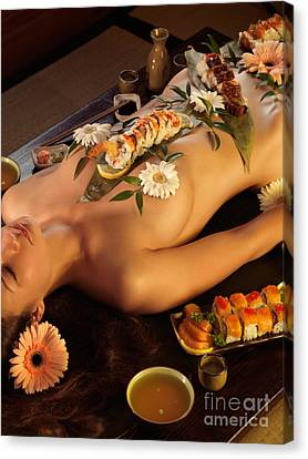 Nyotaimori Body Sushi Canvas Print by Oleksiy Maksymenko