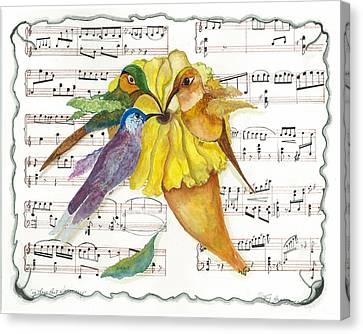 Canvas Print featuring the mixed media 2 Of 2 - Natures Symphony-in Three-part Harmony by Joy Braverman