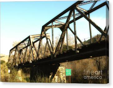 Old Railroad Bridge At Union City Limits Near Historic Niles District In California . 7d10736 Canvas Print by Wingsdomain Art and Photography