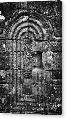 Ornate Carved Window In The 12th Century Banagher Old Church County Derry Londonderry Canvas Print by Joe Fox
