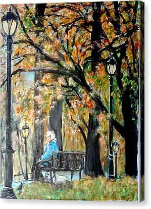 Peace In Central Park Canvas Print by Lynn Carlson