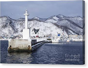 Pier Light At Fishing Port Harbor Canvas Print by Jeremy Woodhouse