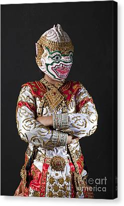 Portrait Of Hanuman Warrior Canvas Print by Anek Suwannaphoom