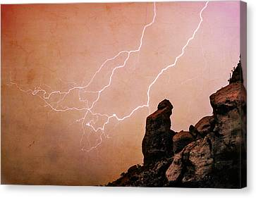 Lightning Decorations Canvas Print - Praying Monk Camelback Mountain Lightning Monsoon Storm Image Tx by James BO  Insogna